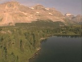 Aerial view over lake Stock Footage