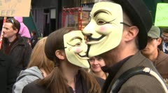 Stock Video Footage of Protest, Occupy (Wall-Street) Calgary #3, anonymous masks