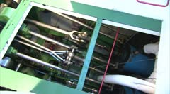 Paddle Steamer Engine Room from above Stock Footage