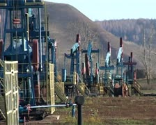Pumpjacks working Stock Footage