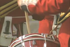 Close up of guard band playing drums - stock footage