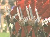 Close up of soldiers fixing bayonets Stock Footage