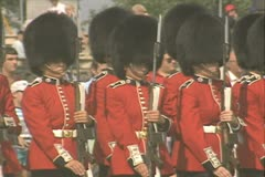 Stock Video Footage of Guards standing with guns and displaying
