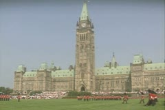 Distant shot of royal guards standing on lawn Stock Footage