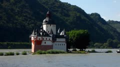 Pfalzgrafenstein castle at Kaub Rhine valley Stock Footage