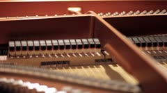 Inside of a grand piano (strings & hammers) Stock Footage