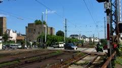 Auto Car crossing train line Rudesheim am Rhein Rhine valley Stock Footage