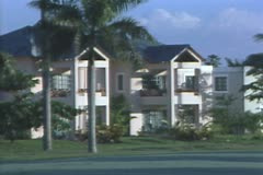 Zoom out from resort buildings Stock Footage