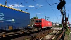 Train passing Rudesheim Ruedesheim am Rhein Rhine valley Stock Footage