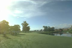 Panoramic of lawn and resort buildings Stock Footage