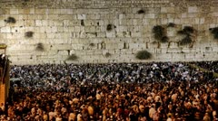 Slihot at the Western Wall, Jerusalem, time lapse - stock footage