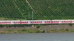 Train passing vineyard Rudesheim Ruedesheim am Rhein Rhine valley Stock Footage
