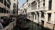 Venice, Italy Aerial View of  Gondolas on a Small Canal near San Marco Stock Footage