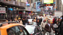 Times Square New York City pedestrian peope crowd walking Stock Footage