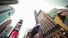 Times Square New York City super wide pan buildings skyscrapers Stock Footage