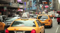 Times Square New York City traffic yellow cab yellowcab Stock Footage
