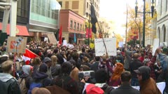 Protest, Occupy (Wall-Street) Calgary #11, crowds - stock footage