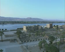 Pan across of ruins next to river side Stock Footage