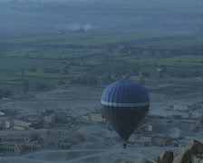 Hot air balloon over ruins Stock Footage