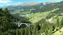 Langwies Viaduct, Swiss Alps, Switzerland, Schweiz Stock Footage
