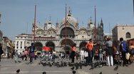 Piazza San Marco, Basilica, Saint Mark's Square, Popular Landmark of Venice Stock Footage