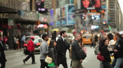 Crowd walking crossing street people slow motion urban new york city Stock Footage