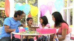 Young Ethnic Girl Enjoying Birthday Celebrations Stock Footage