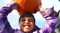 Family Lifting Pumpkins Editorial Stock Footage