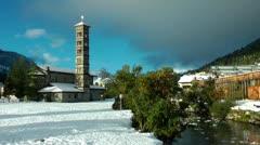 View over St.Moritz Bad, Engadin, Switzerland - stock footage