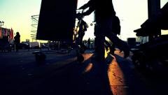 Shopping people at sunset Stock Footage