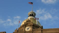 American flag on golden capital dome Stock Footage