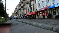 Tourists on a city street - stock footage