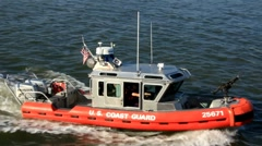 Coast guard boat at U.S. port Stock Footage