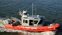 Coast guard boat at U.S. port - stock footage