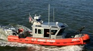 Stock Video Footage of Coast guard boat at U.S. port