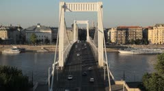 HD Aerial View of Budapest, Danube River, Elizabeth Bridge, Car Traffic, Boat Stock Footage