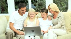 Young Caucasian Family Using Online Webchat - stock footage