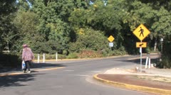 Crosswalk Sign and Road Stock Footage