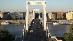 Time Lapse of Aerial View of Budapest, Danube River, Elizabeth Bridge, Traffic Stock Footage