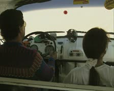View of front seat of travelling truck Stock Footage