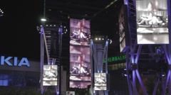 Nokia Theater pan over light towers Stock Footage