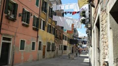 Venitian street with washing lines Stock Footage