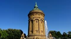 Mannheim water tower Rhein Neckar Baden Wuerttemberg Stock Footage