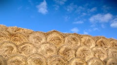 Clouds over haystack - stock footage