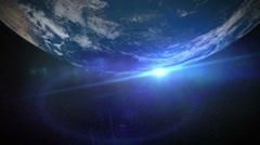 Stock Video Footage of Planet - Earth - 5 - Top - Rotate and Flare