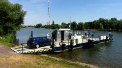 Ladenburg auto ferry river Neckar Rhein Stock Footage