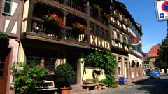 Ladenburg timbered house in old town Neckar Rhein Stock Footage