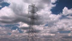 Timelapse - Power Lines and Clouds Stock Footage