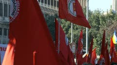 Stock Video Footage of Waving flags at Rome demonstration 15 Oct 2011