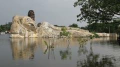 Thailand flood reclining Buddha 1 Apple Jpg Stock Footage